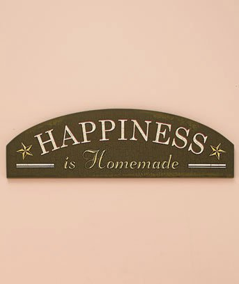 "New Wooden Construction Happiness is Homemade 20"" Sentiment Wall Art Hanging Plaque"