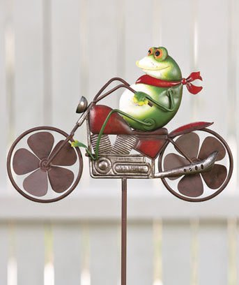 New Metal Motorcycle Yard / Green Garden Frog Wind Spinner Stake