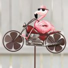 New Metal Motorcycle Yard / Pink Garden Flamingo Wind Spinner Stake