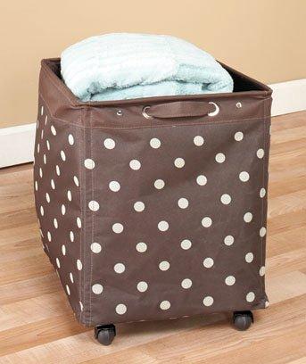 New Chocolate Brown With Dots Rolling Jumbo Storage Bin