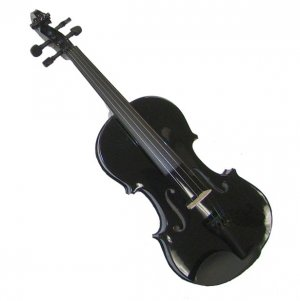 Crystalcello MV300BK 3/4 Size Black Violin with Case