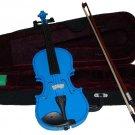 Crystalcello MV300DBL 3/4 Size Dark Blue Violin with Case