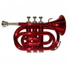 MERANO WD480RD B Flat Red Pocket Trumpet with Case