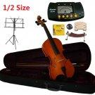 Rugeri 1/2 Size Violin+Case+Bow+2Sets String,2Bridges,Shoulder Rest,Mute,Rosin,Metro Tuner,Stand
