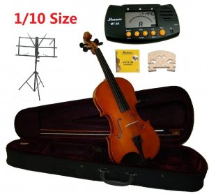 Rugeri 1/10 Size Violin+Case+Bow+2 Sets String,2 Bridges,Rosin,Metro Tuner,Music Stand