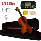 Rugeri 1/32 Size Violin+Case+Bow+2 Sets String,2 Bridges,Rosin,Metro Tuner,Music Stand