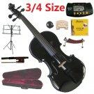 Rugeri 3/4 Size Black Violin+Case+Bow+2Sets String,2Bridges,Shoulder Rest,Mute,Rosin,Tuner,Stand