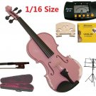 Merano 1/16 Size Pink Violin+Case+Bow+2 Sets String,2 Bridges,Rosin,Metro Tuner,Music Stand