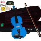 Rugeri 3/4 Size Blue Violin+Case+Bow+2Sets String,2Bridges,Shoulder Rest,Mute,Rosin,Tuner,Stand