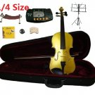 Rugeri 1/4 Size Gold Violin+Case+Bow+2Sets String,2Bridges,Shoulder Rest,Mute,Rosin,Tuner,Stand