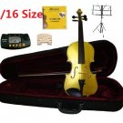 Rugeri 1/16 Size Gold Violin+Case+Bow+2 Sets String,2 Bridges,Rosin,Metro Tuner,Music Stand