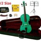 Rugeri 1/2 Size Green Violin+Case+Bow+2Sets String,2Bridges,Shoulder Rest,Mute,Rosin,Tuner,Stand