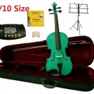 Rugeri 1/10 Size Green Violin+Case+Bow+2 Sets String,2 Bridges,Rosin,Metro Tuner,Music Stand