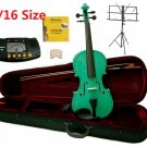 Rugeri 1/16 Size Green Violin+Case+Bow+2 Sets String,2 Bridges,Rosin,Metro Tuner,Music Stand