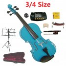 Rugeri 3/4 Size Blue Violin+Case+Bow+2Sets String,2Bridges,Shoulder Rest,Mute,Rosin,Tuner,Stand