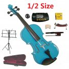 Rugeri 1/2 Size Blue Violin+Case+Bow+2Sets String,2Bridges,Shoulder Rest,Mute,Rosin,Tuner,Stand