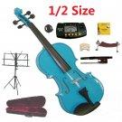 Rugeri 1/2 Size Blue Violin+Case+Bow+2Sets String,2Bridges,Shoulder Rest,Mute,Rosin,Tuner,Stand