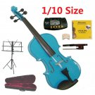 Rugeri 1/10 Size Blue Violin+Case+Bow+2 Sets String,2 Bridges,Rosin,Metro Tuner,Music Stand