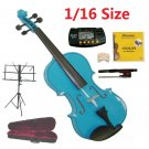 Rugeri 1/16 Size Blue Violin+Case+Bow+2 Sets String,2 Bridges,Rosin,Metro Tuner,Music Stand