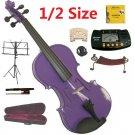 Rugeri 1/2 Size Purple Violin+Case+Bow+2Sets String,2Bridges,Shoulder Rest,Mute,Rosin,Tuner,Stand