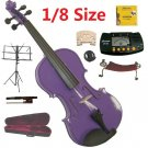 Rugeri 1/8 Size Purple Violin+Case+Bow+2Sets String,2Bridges,Shoulder Rest,Mute,Rosin,Tuner,Stand