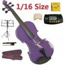 Rugeri 1/16 Size Purple Violin+Case+Bow+2 Sets String,2 Bridges,Rosin,Metro Tuner,Music Stand