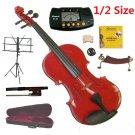Rugeri 1/2 Size Red Violin+Case+Bow+2Sets String,2Bridges,Shoulder Rest,Mute,Rosin,Tuner,Stand