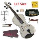 Rugeri 1/2 Size White Violin+Case+Bow+2Sets String,2Bridges,Shoulder Rest,Mute,Rosin,Tuner,Stand