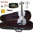 Rugeri 3/4 Size Silver Violin+Case+Bow+2Sets String,2Bridges,Shoulder Rest,Mute,Rosin,Tuner,Stand