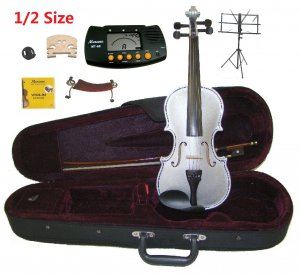 Rugeri 1/2 Size Silver Violin+Case+Bow+2Sets String,2Bridges,Shoulder Rest,Mute,Rosin,Tuner,Stand