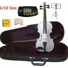 Rugeri 1/10 Size Silver Violin+Case+Bow+2 Sets String,2 Bridges,Rosin,Metro Tuner,Music Stand
