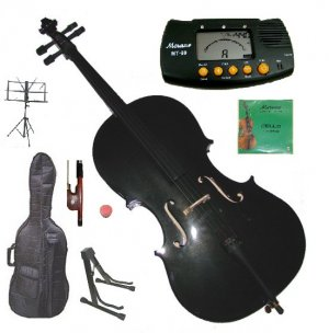 Rugeri 1/10 Size Black Cello+Bag+Bow+2 Sets String,Rosin,Cello Stand,Music Stand,Metro Tuner