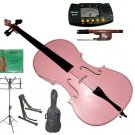 Rugeri 3/4 Size Pink Cello+Bag+Bow+2 Sets String,Rosin,Cello Stand,Music Stand,Metro Tuner