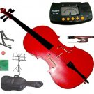 Rugeri 3/4 Size Red Cello+Bag+Bow+2 Sets String,Rosin,Cello Stand,Music Stand,Metro Tuner