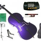 Rugeri 3/4 Size Purple Cello+Bag+Bow+2 Sets String,Rosin,Cello Stand,Music Stand,Metro Tuner