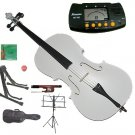Rugeri 3/4 Size White Cello+Bag+Bow+2 Sets String,Rosin,Cello Stand,Music Stand,Metro Tuner