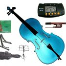 Rugeri 3/4 Size Blue Cello+Bag+Bow+2 Sets String,Rosin,Cello Stand,Music Stand,Metro Tuner