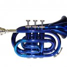 MERANO WD480BL B Flat Blue Pocket Trumpet with Case