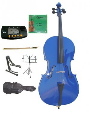 Rugeri 1/4 Size Blue Cello+Bag+Bow+2 Sets String,Rosin,Cello Stand,Music Stand,Metro Tuner