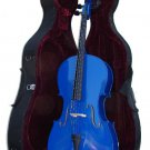 Rugeri MC150DBL 1/4 Size Blue Cello with Case