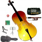Rugeri 1/8 Size Gold Cello+Bag+Bow+2 Sets String,Rosin,Cello Stand,Music Stand,Metro Tuner
