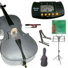 Rugeri 1/10 Size Silver Cello+Bag+Bow+2 Sets String,Rosin,Cello Stand,Music Stand,Metro Tuner
