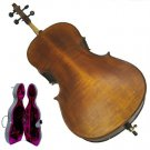 Rugeri MC650 3/4 Size Hand Made Antique Style High Flamed Cello with Hard Case