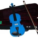 Rugeri MV400DBL 1/10 Size Solid Wood Ebony Fitted Violin with Case and Bow ~ BLUE