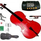 Rugeri 1/16 Size Red Cello+Bag+Bow+2 Sets String,Rosin,Cello Stand,Music Stand,Metro Tuner