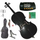 Rugeri 1/16 Size Black Cello+Bag+Bow+2 Sets String,Rosin,Cello Stand,Music Stand,Metro Tuner