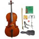 Merano 1/8 Size Natural Cello w/Bag,Bow+Rosin+2 Sets Strings+Tuner+Cello Stand+Music Stand