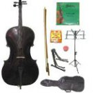 Merano 1/10 Size Black Cello w/Bag,Bow+Rosin+2 Sets Strings+Tuner+Cello Stand+Music Stand