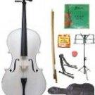 Merano 1/10 Size White Cello w/Bag,Bow+Rosin+2 Sets Strings+Tuner+Cello Stand+Music Stand