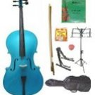 Merano 1/10 Size Blue Cello w/Bag,Bow+Rosin+2 Sets Strings+Tuner+Cello Stand+Music Stand